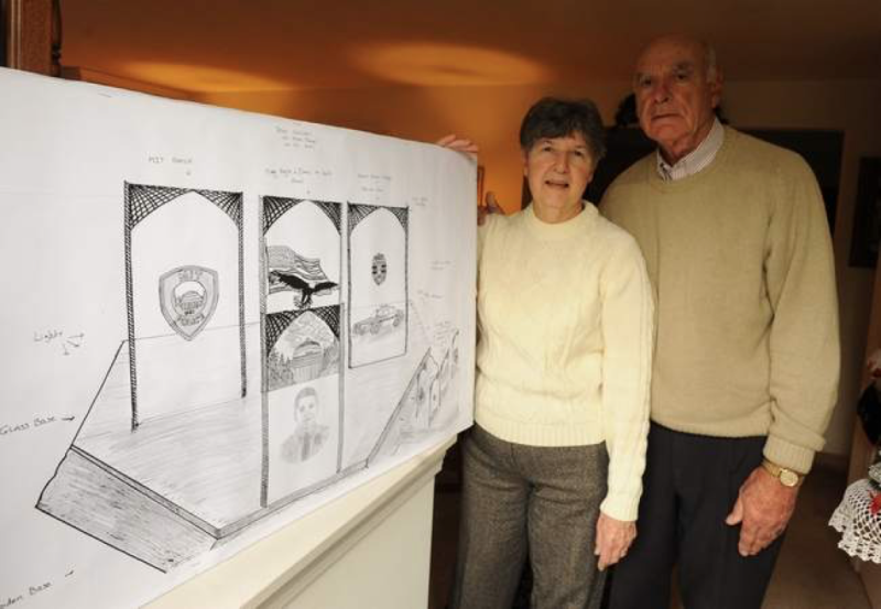 Rose and Ralph Ingegneri, of Brewster, are raising money to have an Irish artist create crystal memorials in recognition of the Boston Marathon bombing victims. Merrily Cassidy/Cape Cod Times
