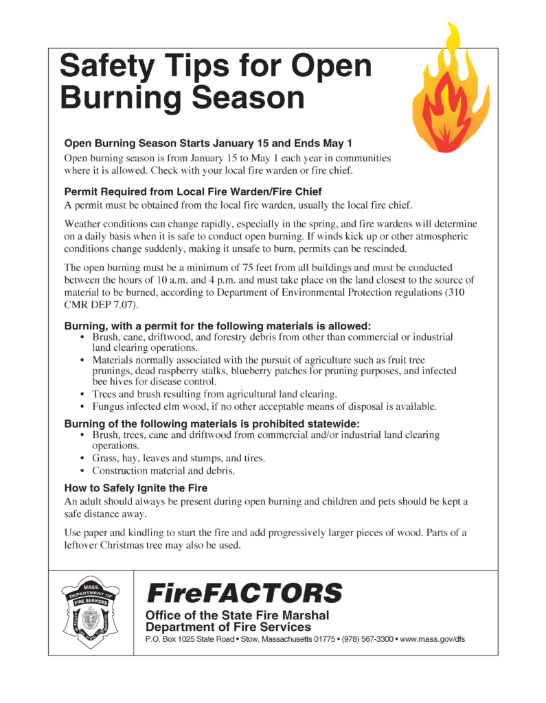 Open Burning Safety Tips Brewster Fire Department